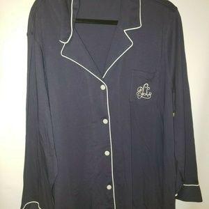 NEW Lauren Ralph Lauren Knit Sleepshirt Blue Long
